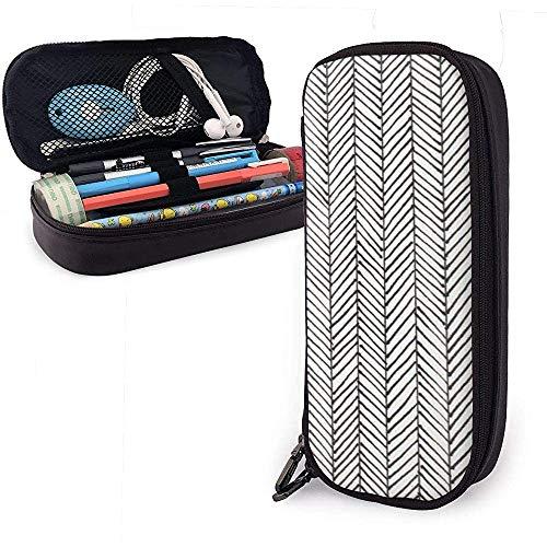 Plain Stripes Netter Stift Federmäppchen Leder Große Kapazität Doppelreißverschlüsse Bleistiftbeutel Stifthalter Box 20cm * 9cm * 4cm