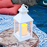 Lanterna bianca con candela LED a pile di Lights4fun