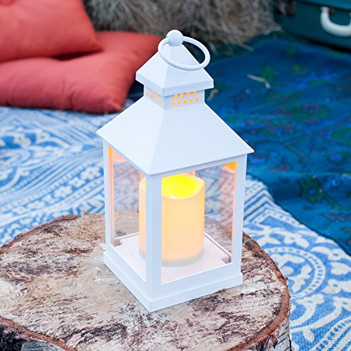 Lanterna bianca con candela LED a pile di