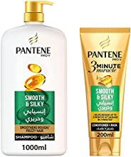 Pantene Pro-V Smooth & Silky Shampoo 1L + 3 Minute Miracle Conditioner 20