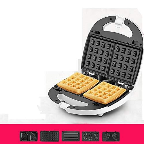 FJNS 700 W Mini Multi-Funzione 5-in-One,Piastra elettrica Antiaderente per Waffle,Combinazione Casuale Macchina Waffle Egg Roll Macchina,Macchina Sandwich,indicatore Luminoso,5setsofbakingtrays