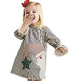 Weihnachtskleid Baby Btruely Lange Hülse Bluse Mädchen Gestreift Prinzessinenkleid Outfits (80, Weiß)