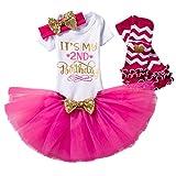 NNJXD Mädchen Neugeborene Es ist mein 1. Geburtstag 4 Stück Outfits Strampler + Rock + Stirnband (+ Leggings) Größe (2) Rose(2 Jahre)