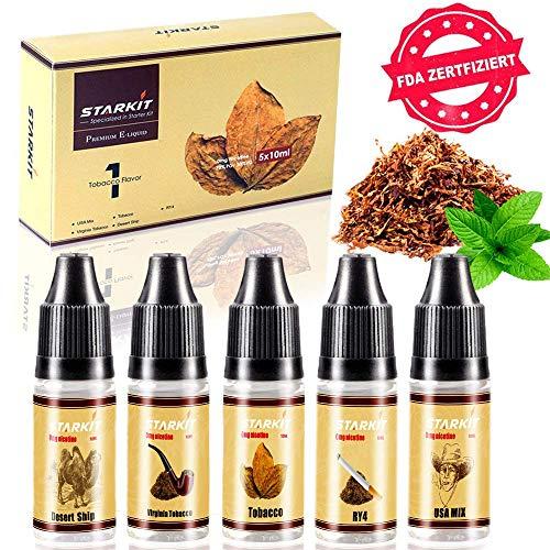 E Liquids 5 X 10ml,Tabak Geschmack für E Zigarette Starter Set E Shisha, STARKIT® E liquid PG70{21ddf651e383f4ca14679a6087ab9d4c8c70ccd2beec16b9094fc3baddd31625} VG30{21ddf651e383f4ca14679a6087ab9d4c8c70ccd2beec16b9094fc3baddd31625} 0mg Kein Nikotin USA MIX|Tabak|RY4|Virginia|Desert Geschmack EJuice(Traditionelle Tabak)