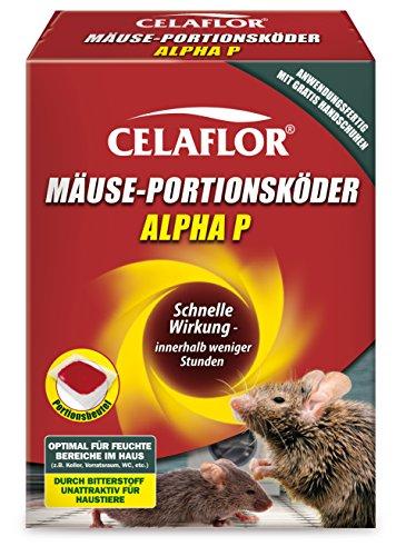 Celaflor Mäuse-Portionsköder Alpha P, Anwendungsfertiger, attraktiver Köder zur Bekämpfung von Mäusen mit innovativem Wirkstoff, 20 x 10g Portionsbeutel