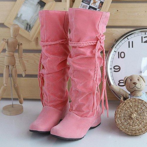 Beauty Top Stivali Donna Invernali, Nuovo Autunno Inverno Pelliccia Neve Stivali con Tacco Snow Boots Stivaletti Rosa#1