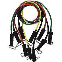 Ohuhu® Banda di resistenza Set, Bande di fitness elastici Kit con 5Stretch tubi di alta qualità, porte-anchor, fibbia caviglia, Tabella di carica, e custodia di trasporto gratuito per Pilates, Yoga, ecc