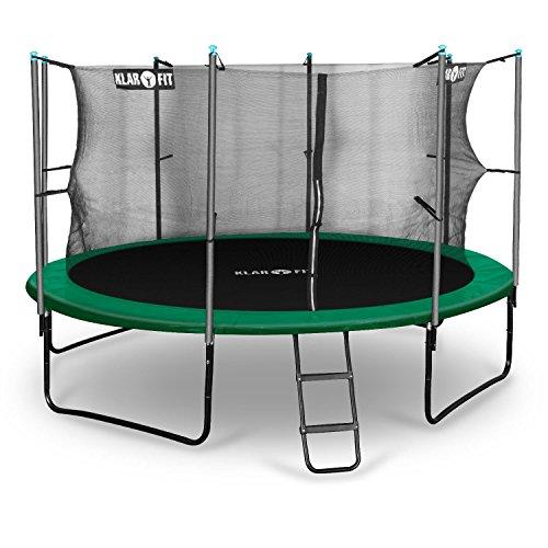Klarfit Rocketstart 366 Cama elástica trampolin con red de seguridad (superficie base 366cm diametro, sujecion 4 patas doble, varillas de sujecion acolchadas, lona resistente a los rayos UV, protector de lluvia, verde)