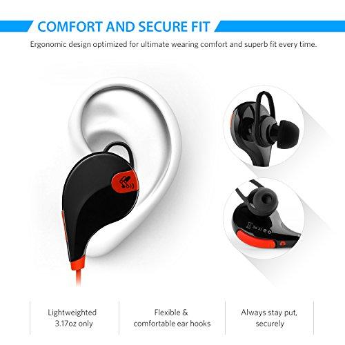SoundPEATS® QY7 Auricolare Bluetooth Stereo per Sport, Bluetooth 4.1 Headset Wireless Running & Gym di Tecnologia Apt-X con Microfono per iPhone 6 / 6 plus / 5s / 5c / 5, iPad, Android Smartphone come Samsung, ecc. (Nero-Rosso)