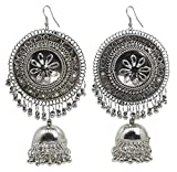 #5: BEATNIK Oxidized Silver Big Traditional Jhumka/Jhumki Earrings for Women and Girls