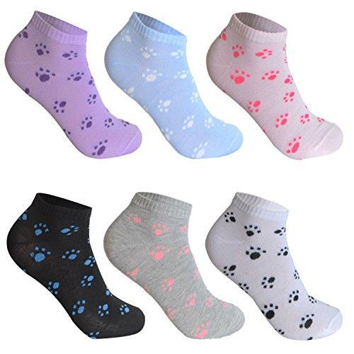 12 Paar L&K-II Damen Sneaker Socken Mädchen Füßlinge Bambus mit Ringel Punkte Muster 92279 35-38 (Socken-füßlinge Mädchen)