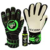 gloveglu RE:GRIP Goalkeeper Goalie Gloves with Removable Finger Protection RE:GRIP Spray – Size