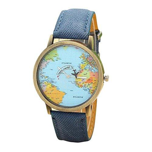 Fasching Karneval Uhren Dellin Neue globale Reise mit Dem Flugzeug Karte Frauen Kleid Uhr Denim Fabric Band (Blau)