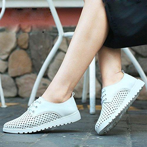 Confortables chaussures à semelle souple chaussures femmes creux chaussures de sport respirant chaussures de sport chaussures en dentelle simples White