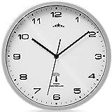 Orologio da parete color argento/bianco al quarzo automatico Orologio da muro radiocontrollato Analogico - Ø 31cm
