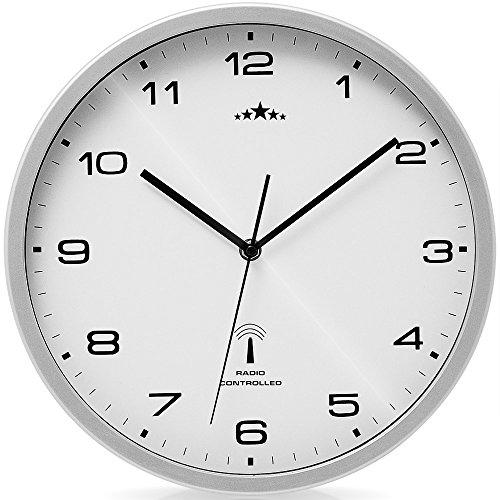 Monzana Wanduhr Funk Ø 31 cm Groß Weiß Silber Automatische Zeitumstellung Geräuscharm Modern - Funkuhr Funkwanduhr Uhr