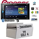 VW Golf 4 IV - Autoradio Radio Pioneer MVH-A200VBT - 2-Din Bluetooth | MP3 | USB | - Einbauzubehör - Einbauset