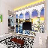Yirenfeng Tapeten 3D Wandbild Dekor Foto Hintergrund Fotografie 3D Stereo Seebögen Chalet Art Zimmer Hotel Wandmalerei Wandbilder400X250CM