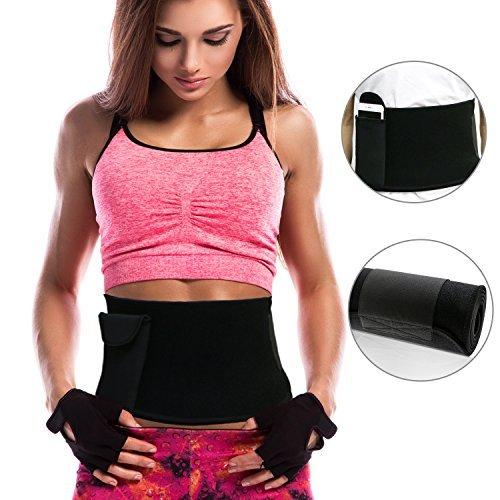 Gifort Rückenbandage, Fitnessgürtel Schwitzgürtel, Taille Trimmer-Slimmerbelt, Bauch Fett Burner, Gewichtsverlust Gürtel Rücken und Lendenwirbelstütze für Männer und Frauen