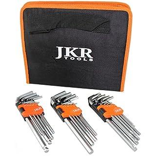 JKR Tools Hex Key TORX METRIC IMPERIAL Triple Set 27 pieces long allen keys with Storage Case