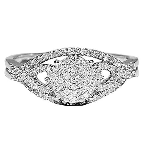 rings-midwestjewellery. com Femme 1/4cttww Diamant de Bague de Fiançailles en Or Blanc 10carats en forme de cœur côté (I/J couleur 0,25carat au total) - Cut Parte