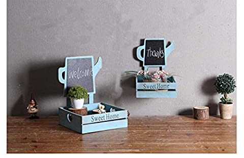 Wooden Kettle Blackboard Set Shelf 2 Piece Wall Pendant Suspension Basket Living Room Souvenir Balcony Cafe Decoration/Ornament , blue ,