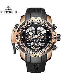 Reef tigre complicado Dial Negro Rubber Reloj para hombre oro rosa militar reloj rga3503