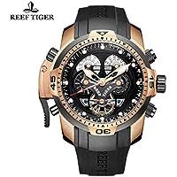 Reef Tiger orologio da uomo complicato quadrante nero gomma rose Gold orologio RGA3503