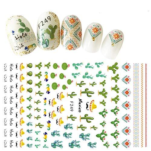Nail Sticker 3D Nägel Slider Decals Kaktus Design Nail Art Dekoration Maniküre Tipps Klebefolie Wraps