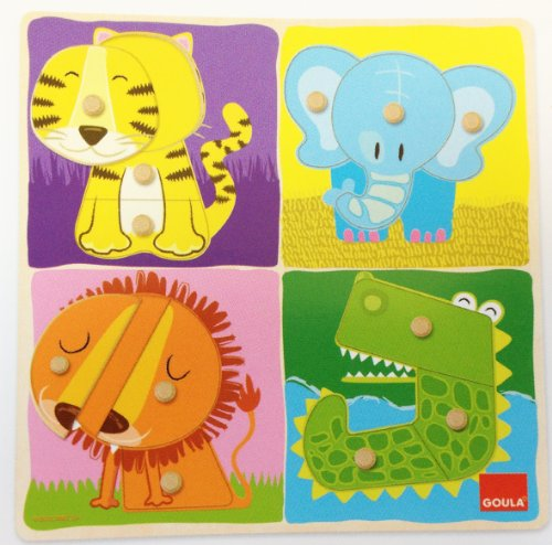 Goula - Puzzle animales selva, piezas de madera (Diset 53111)