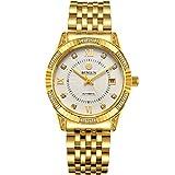 BINLUN Uhren Herren Luxus Armbanduhr,18Karat vergoldet,mit Datumsanzeige,wasserdicht