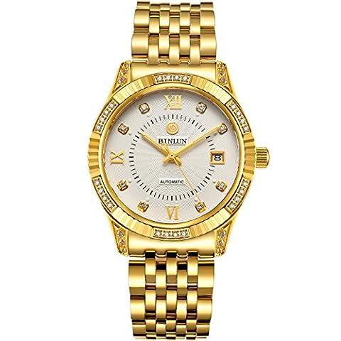 Binlun Herren-Luxus-Armbanduhr, 18Karat vergoldet, mit Datumsanzeige, wasserdicht