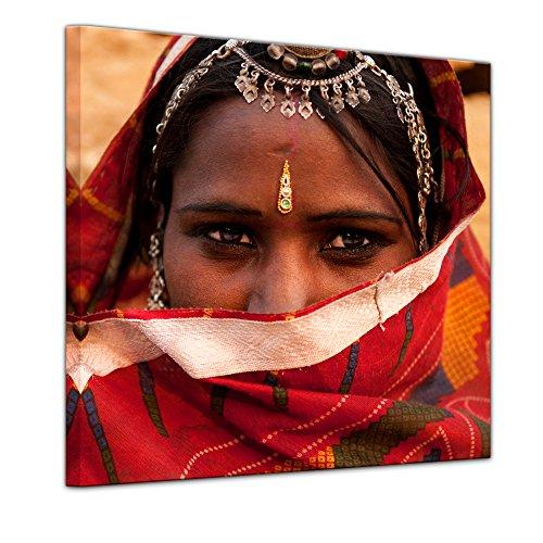 Kunstdruck - Indische Schönheit - 60 x 60 cm - Leinwandbilder - Bilder als Leinwanddruck - Wandbild von Bilderdepot24 (Schönheit Sari)