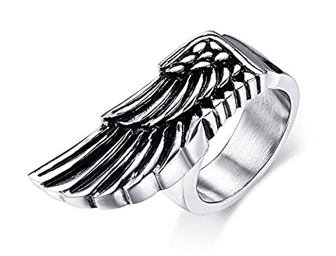 Vnox Stainless Steel Antique Gothic Feather Angle Wings Custom Ring
