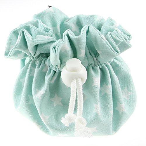 Louka Pochette à Tétine Vert menthe étoile blanche, bébé garçon & fille–Boîte avec clip pour rangement de la sucette à sucette