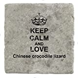 Keep Calm Love Chinese crocodile lizard Marble Tile Drink Coaster