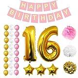 BELLE VOUS Geburtstag Dekoration Set - 32 Stck Alles Gute zum Geburtstag Banner einstellen - Weiß Rosa und Gold Ballons, Latexballons, Pom Pom (Erwachsene)