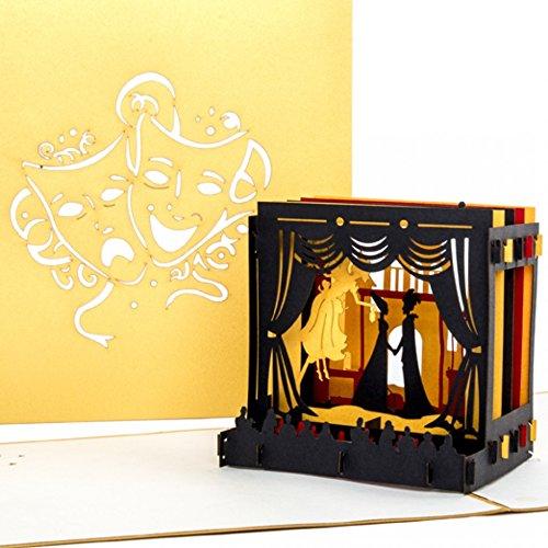 """Pop-Up Karte """"Theaterbühne"""" Theatergutschein, Einladung, Geburtstagskarte, edle goldene 3D Karte Theater"""