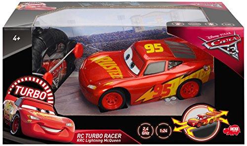 DICKIE TOYS 203084010 Cars 3 RRC Turbo Racer Lightning McQueen RC Vehicle,  1: 24 Radio Control Car - 17 cm