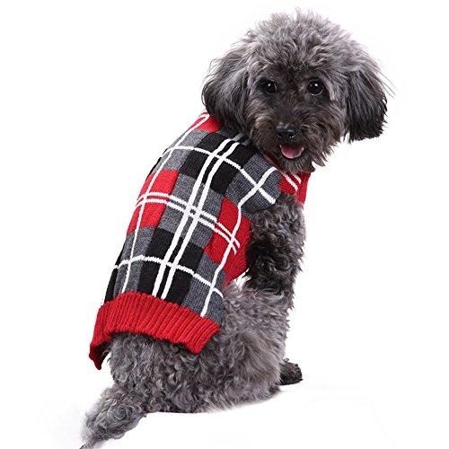 Hunde Pullover,Roter Karierter Haustier-Gestrickter Pullover-Winter-Warmer Strickjacken-Welpen-Kostüm-Schottland-Art(,)