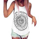 SEWORLD Tanktop Damen Frauen Sonne Gedruckt Tank Tops Bluse Casual Ärmellos Weste T-Shirt Oberteil (Weiß,S)