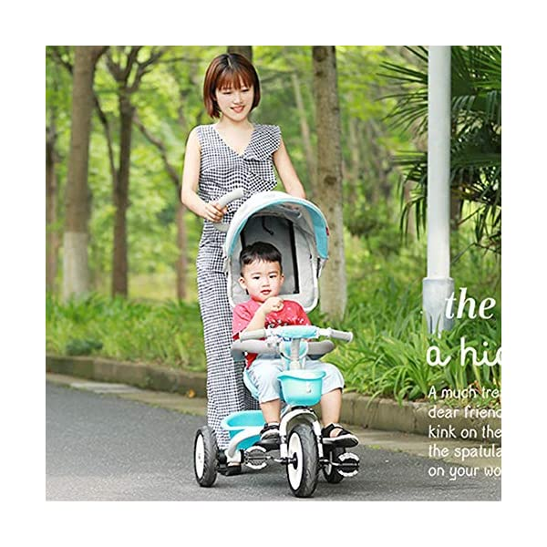 GSDZSY - Foldable Children Tricycle, Pusher Adjusts Height And Control Direction, Seat 360° Rotatable,Rainproof And UV Protection Awning,1-6 Years Old GSDZSY ❀ Material: High carbon steel + ABS + rubber wheel, suitable for children from 6 months to 6 years old, maximum load 30 kg ❀ Features: The push rod can be adjusted in height, the seat can be rotated 360, the backrest can be adjusted, the baby can sit or recline; the adjustable umbrella can be used for different weather conditions ❀ Performance: high carbon steel frame, strong and strong bearing capacity; non-inflatable rubber wheel, suitable for all kinds of road conditions, good shock absorption, seat with breathable fabric, baby ride more comfortable 8