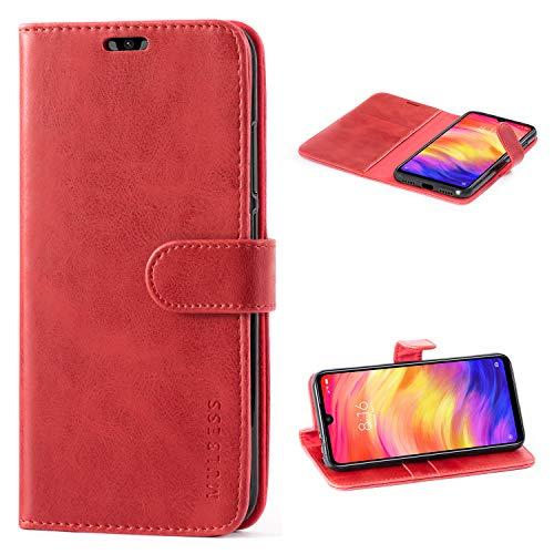Mulbess Handyhülle Xiaomi Redmi Note 7 Hülle Leder, [Ledertasche mit BookStyle] Flip Case Tasche Etui Schutzhülle für Xiaomi Redmi Note 7 Pro Hülle Leder, Wein Rot