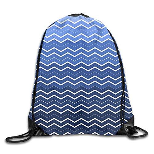 Fashion New School Bag Drawstring Backpack Gym Bag Travel Backpack Sea Blue Chevron Small Drawstring Backpacks for Women Men Adults