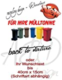 Recycling Design Set ***Ihr Wunschtext*** - Mülltonnenaufkleber/ Sticker/ Tattoo - frei wählbare Wunschfolienfarbe!