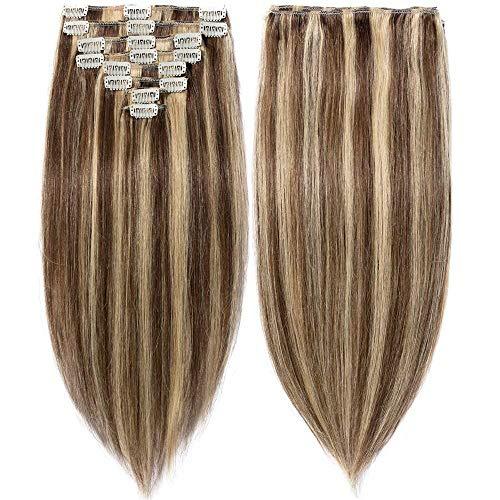 20-60cm extension capelli veri clip meches remy human hair lisci parrucca vera corta (33cm-80g #4/27 marrone cioccolato/biondo scuro)