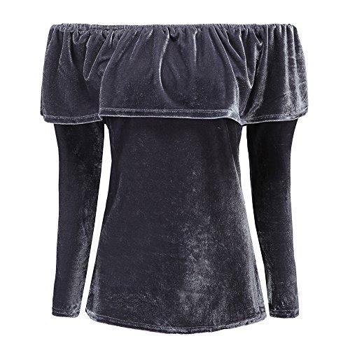 Balai Femmes Manches Longues Velour Partie Robe Dames Tiered Epaule Mini Tops Volantee Gris
