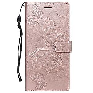 DENDICO Sony Xperia C6 Hülle, PU Leder Handyhülle mit Standfunktion und Kartenfach, Schmetterling Muster Magnetverschluss Flip Brieftasche Etui TPU Schutzhülle für Sony Xperia C6