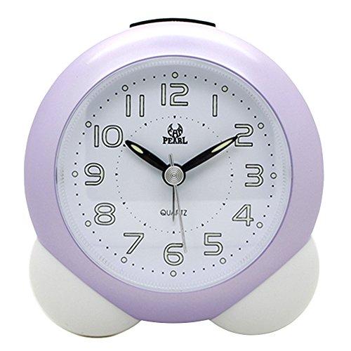 Pingenaneer Reloj Despertador Analógico de Cuarzo con Luz Nocturna & Loud Alarma , No-ticking, Bell y Funciona con Pilas, Púrpura