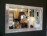 PremierInteriors Crackle Design Miroir Mural biseauté Edge Cadre argenté mosaïque en Verre 90x 60cm Neuf